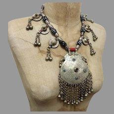 Massive Pendant, India Necklace, Kashmiri, Vintage Necklace, Middle Eastern, Silver, Big, Beaded, Pakistan, Middle Eastern, Afghan, Boho