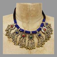 Afghan Necklace, Middle Eastern, Coins, Vintage Necklace, Blue, Kuchi Jewelry, Massive, Glass Jewels, Big, Middle Eastern, Gypsy, Boho, Huge