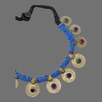 Coin Necklace, Afghan, Vintage Necklace, Middle Eastern, Beaded, Blue, Jewels, Red, Green, Kuchi Jewelry, Banjara, Turkomen, Boho, Ethnic