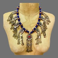 Afghan Necklace, Coin, Middle Eastern, Vintage Necklace, Blue, Kuchi Jewelry, Massive, Glass Jewels, Big, Belly Dance, Gypsy, Boho, Huge