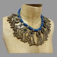 Afghan Necklace, Middle Eastern, Coins, Vintage Necklace, Blue, Kuchi Jewelry, Massive, Glass Jewels, Big, Middle Eastern, Gypsy, Boho, Huge