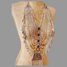 Kuchi Body Chain, Middle Eastern, Afghan, Massive, Vintage Necklace,Blue, Red, Belly Dance, Dangles, Gypsy, Festival Jewelry