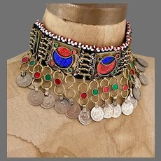 Kuchi Choker, Coins, Arm Band, Anklet, Vintage Necklace, Afghan, Middle Eastern, Red, Blue Belly Dance, Bollywood, Gypsy, Big Statement