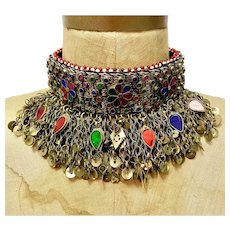Afghan Necklace, Massive, Choker, Kuchi, Jewels, Mirrors, Vintage, Middle Eastern, Silver, Red, Green, Pink, Blue, Banjara, Boho