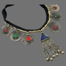 Gypsy Necklace, Lapis Afghan Jewelry, Vintage Necklace, Kuchi Jewelry, Red, Coins, Green, Middle Eastern, Jewels, Brass, Festival, Bohemian
