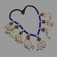 Coin Necklace, Afghan, Blue, Jewels, Gypsy, Kuchi, Vintage Necklace, Middle Eastern, Turkmen, Boho Statement, Bohemian, Ethnic Tribal, Big