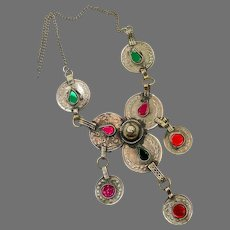 Afghan Necklace, Coin Necklace, Vintage Necklace, Middle Eastern, Pink, Red, Green, Kuchi Jewelry, Hazara, India, Belly Dance