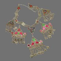 Kuchi Necklace, Massive, Boho Statement, Afghan, Vintage Necklace, Old, Patina, Middle Eastern, Silver, Gypsy, Bohemian, Large, Big, Jeweled