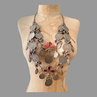 Kuchi Necklace, Coin Necklace, Afghan, Massive, Vintage Necklace, Jewels, Middle Eastern, Gypsy, Silver, India, Belly Dance
