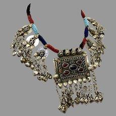 Afghan Necklace, Middle Eastern, Vintage Necklace, Medallion, Kuchi, Massive, Blue, Red, Big Statement, Middle Eastern, Gypsy, Boho, Huge