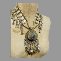 Afghan Necklace, Massive, Kuchi, Medallion, Vintage Necklace, Middle Eastern, Domed Pendant, Chains, Dangles, Gypsy, Nomadic, Huge, Big