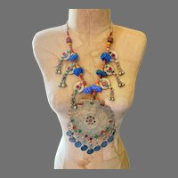 Afghan Necklace, Massive, Pendant, Kuchi, Vintage Necklace, Middle Eastern, Coins, Dangles, Beads, Gypsy, Nomadic, Huge, Big