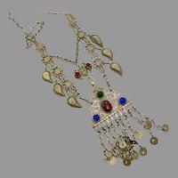 Afghan Necklace, Medallion, Middle Eastern, Glass Jewels, Kuchi, Vintage Necklace, Patina, Chains, Dangles, Gypsy, Nomadic, Big