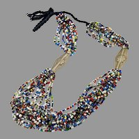 Afghan Necklace, Middle Eastern, Beaded, Glass, Torsade, Vintage Necklace, Kuchi, Rainbow, 15 Strands, Boho ,Tribal, Ethnic, Bohemian