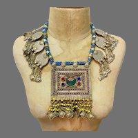 Afghan Necklace, Middle Eastern, Coins, Vintage Necklace, Medallion, Kuchi, Massive, Blue, Red, Big Statement, Middle Eastern, Boho, Huge
