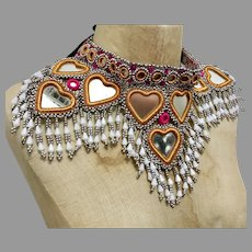 Afghan Necklace, Middle Eastern, Belly Dancing, Silver, Woven Beads, Mirrors, Hearts, Massive, Vintage Necklace, Statement