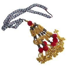 Tassel Necklace, Afghan,Kuchi, Woven Beads, Blue, Gold, Red, Vintage Necklace, Middle Eastern, Tribal, Ethnic