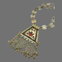 Afghan Necklace, Coins, Medallion, Red Glass Jewels, Massive, Kuchi, Vintage Necklace, Middle Eastern, Chains, Gypsy, Nomadic, Huge, Big