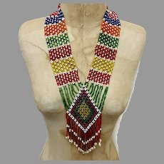 Gypsy Necklace, Afghan, Glass Beads, Woven Beads, Rainbow, Vintage Necklace, Middle Eastern, Red, Blue, Yellow, Green