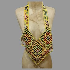 Kuchi Necklace, Bib Necklace, Afghan, Glass Beads, Woven Beads, Massive, Yellow, Vintage Necklace, Middle Eastern, Belly Dancing, Statement