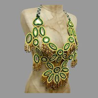 Afghan Necklace, Glass Beads, Woven Beads, Mirrors, Massive, Yellow, Vintage Necklace, Middle Eastern, Belly Dancing, Statement Bib Necklace