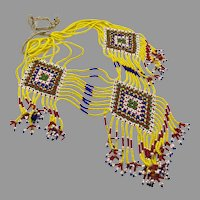 Afghan Necklace, Massive, Yellow, Kuchi, Beaded, Blue, Red, Glass, Vintage Necklace, Middle Eastern, Ethnic, Boho, Big Statement, Woven