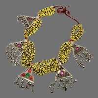 Afghan Necklace, Middle Eastern, Yellow Beaded, Vintage Necklace, Kuchi Jewelry, Glass, Jewels, Big, Middle Eastern, Gypsy, Boho, Huge
