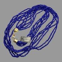"Blue Necklace, 36"" Long, Bohemian Glass, NOS, Cobalt Blue, Multi Strand, Glass Beads, Vintage Necklace, Gold"