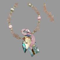 Flamingo Necklace, Pink Rose Quartz, Vintage Necklace, Lee Sands, Designer, Mother of Pearl, Pink Aqua, Shell, Abalone, Cruise Vacation
