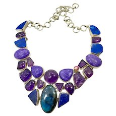 Labradorite Necklace, Lapis, Amethyst, Chariote, Bib Necklace, Vintage Necklace, Purple Necklace, Sterling Silver Plated