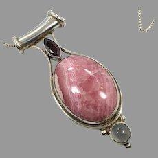 Rhodochrosite Pendant, Garnet, Moonstone, Sterling Silver, Sajen, Vintage Necklace, Designer Pink Stone, Gemstones