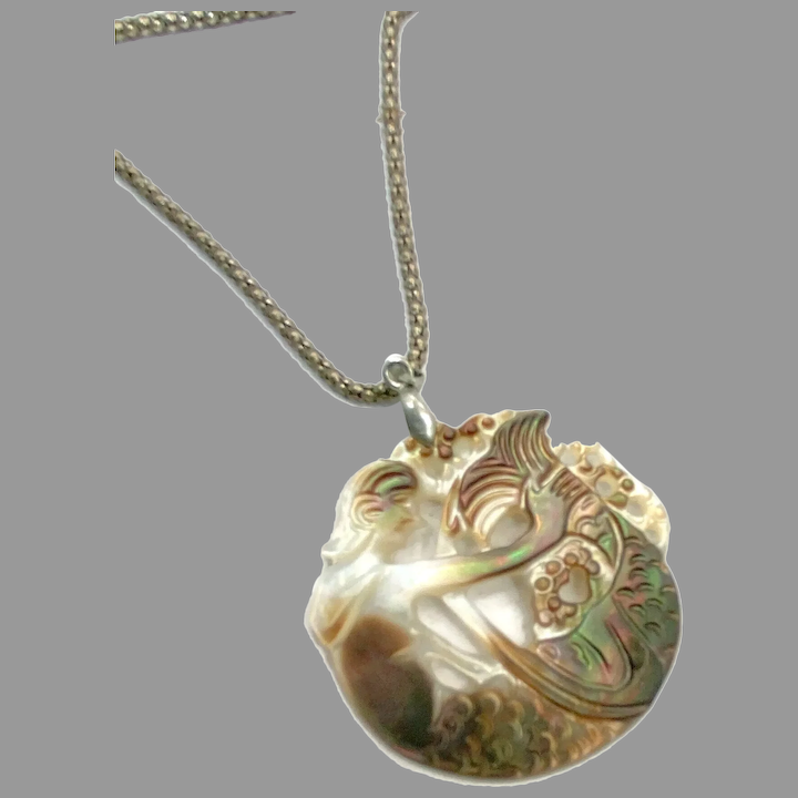 Shell MOP Pendant Sterling Silver Chain Iridescent Carved Pearl Necklace Carved Boho Mother of Pearl Labradorite Moonstone Necklace