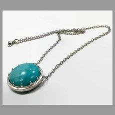 Turquoise Quartz Pendant, Sterling Silver, Vintage Pendant, Big Stone, Blue Pendant, Boho Bohemian, Robins Egg Blue, Modern, Contemporary