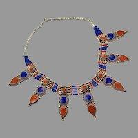 Lapis Necklace, Coral, Stone, Nepal Jewelry, Vintage Necklace, Lapis Lazuli, Tibetan Silver, Tribal Ethnic, Tibet