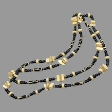 """African Necklace, Bone, Horn, Wood, 52"""" Long, Vintage Necklace, Batik Beads, Glass Beads, Brown, Ethnic, Tribal"""