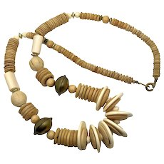 """Boho Necklace, Wood, Chunky, Vintage Necklace, Retro, 32"""" Long, 1980s, 80s, Wooden, Statement, Wood Beads, Big, Massive"""