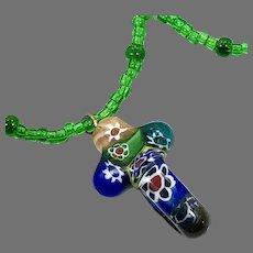 Cross Necklace, Millifiore Pendant, Art Glass, Green, Blue, Red, Choker, Beaded, Hippie, Retro