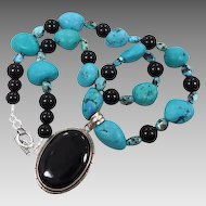 Onyx Turquoise Necklace - Sterling Silver Pendant - Vintage Assemblage - InVintageHeaven