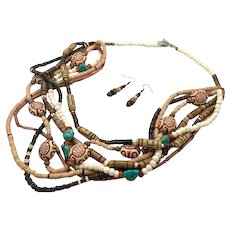 Boho Necklace, Earrings, Set, Multi-Strand, Beaded Necklace, Turquoise, Wood, Bone, Glass, Asian, Big, Oversized, Large, Ethnic Tribal