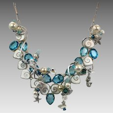 Mermaid Necklace, Bib Necklace, Artisan, Sea Shells, Star Fish, Blue Faux Topaz, Statement Necklace, Recycled, OOAK, Pearls, Beaded