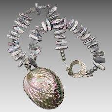 Pearl Shell Necklace, Abalone, Sterling Silver, Sea Shell Pendant, Big Statement, Iridescent, Peacock Shades, Boho Bohemian, Beach Mermaid