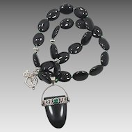 Black Onyx & Green Malachite Beaded Necklace - Sterling Silver - Ethnic Unique - InVintageHeaven