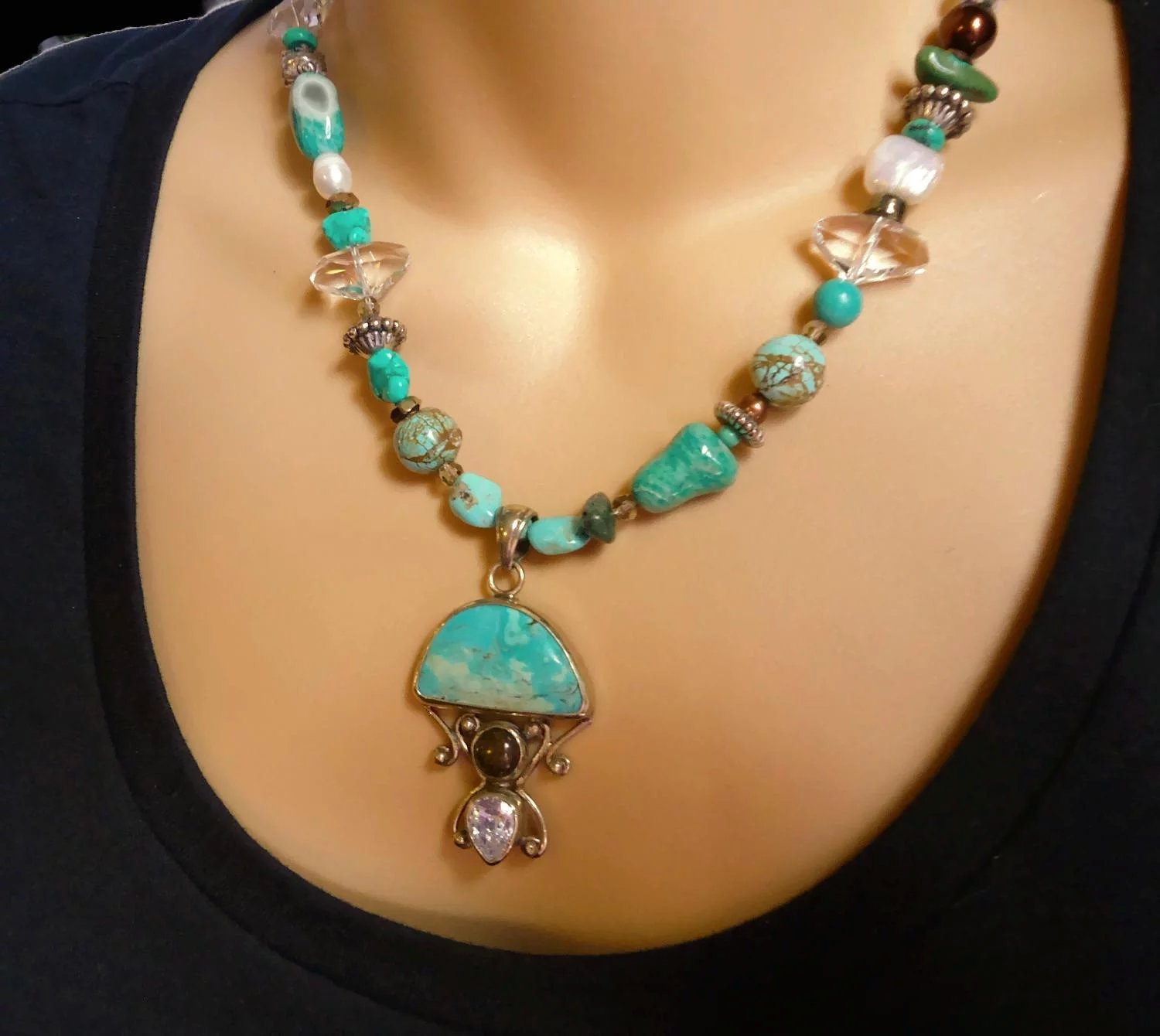 Amazonite Necklace Sterling Silver Beaded Turquoise