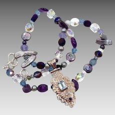Blue Topaz, Amethyst Pendant, Sterling Silver, Beaded Necklace, Pearls, Big Bohemian, Boho Statement, Purple Blue Necklace, OOAK, Unique