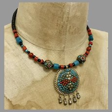 Boho Necklace, Turquoise, Red, Silver, Wood, Vintage Necklace, Ethnic, Tribal Necklace