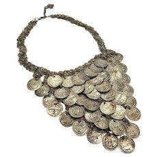 Coin Necklace, Bib Necklace, Gypsy, Chainmail, Boho Statement, Vintage Necklace, Middle Eastern, Big, Silver, Belly Dance, Bohemian