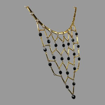 Bib Necklace, Vintage Necklace, Black Beads, Gold, Unique, Statement, Gold Necklace, Vintage Jewelry