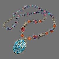Boho Necklace, Amethyst, Carnelian, Lapis, Mixed Beads, Vintage Necklace, Rainbow, Statement, Inlaid Bone, Turquoise Bone, Big, Chunky