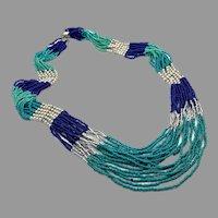 Turquoise Necklace, Blue, Boho, Big Statement, Beaded, Vintage Necklace, NOS, Multi Strand, Oversized, Huge Bohemian, Ethnic Tribal