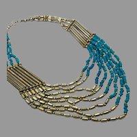 Turquoise Necklace, Beaded, Multi Strand, Ethnic, Vintage Necklace, Silver, Boho, Bohemian, Statement